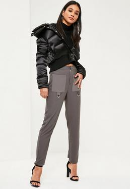 Grey Satin Pocket Cigarette Pants