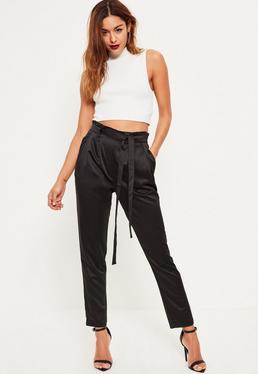 Black Premium Satin Paperbag Tie Waist Cigarette Pants