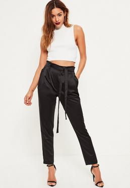 Black Premium Satin Paperbag Waist Cigarette Pants