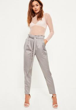 Grey Premium Satin Paperbag Tie Waist Cigarette Pants