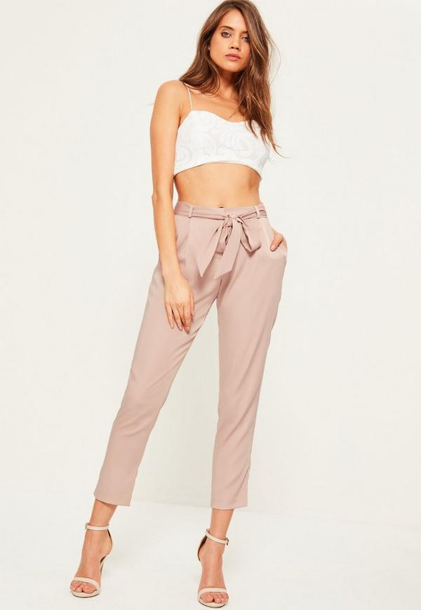 Pink Satin Tie Waist Cigarette Trousers