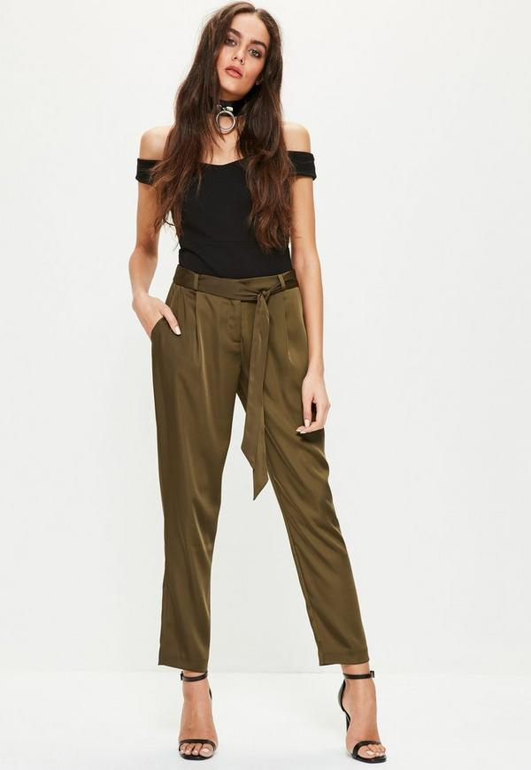 Khaki Satin Bow Tie Waist Cigarette Trousers