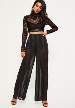 Black Sheer Stripe Wide Leg Trousers