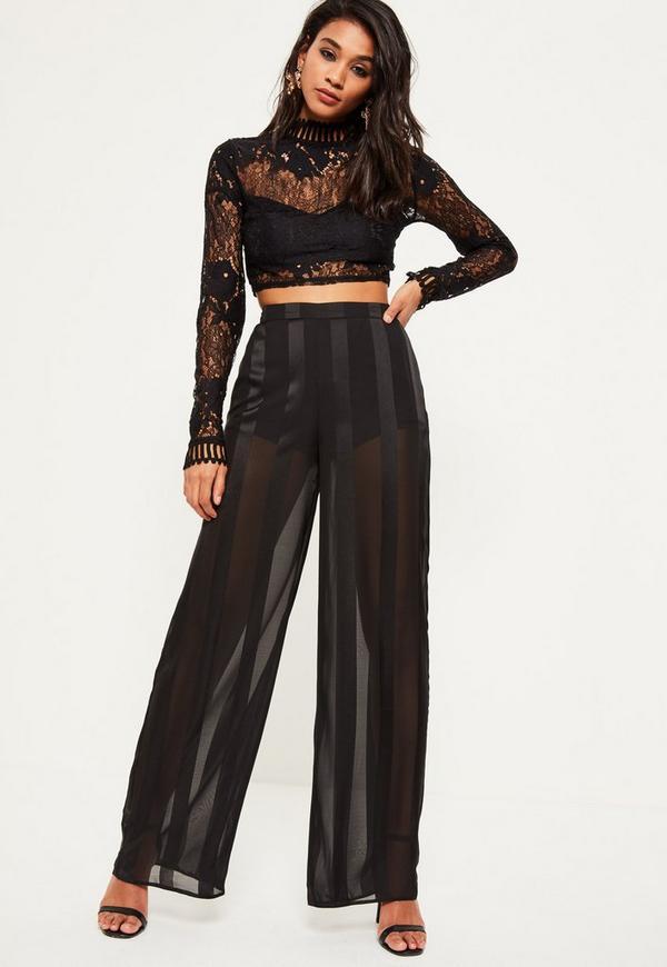 Black Sheer Stripe Wide Leg Pants - Missguided