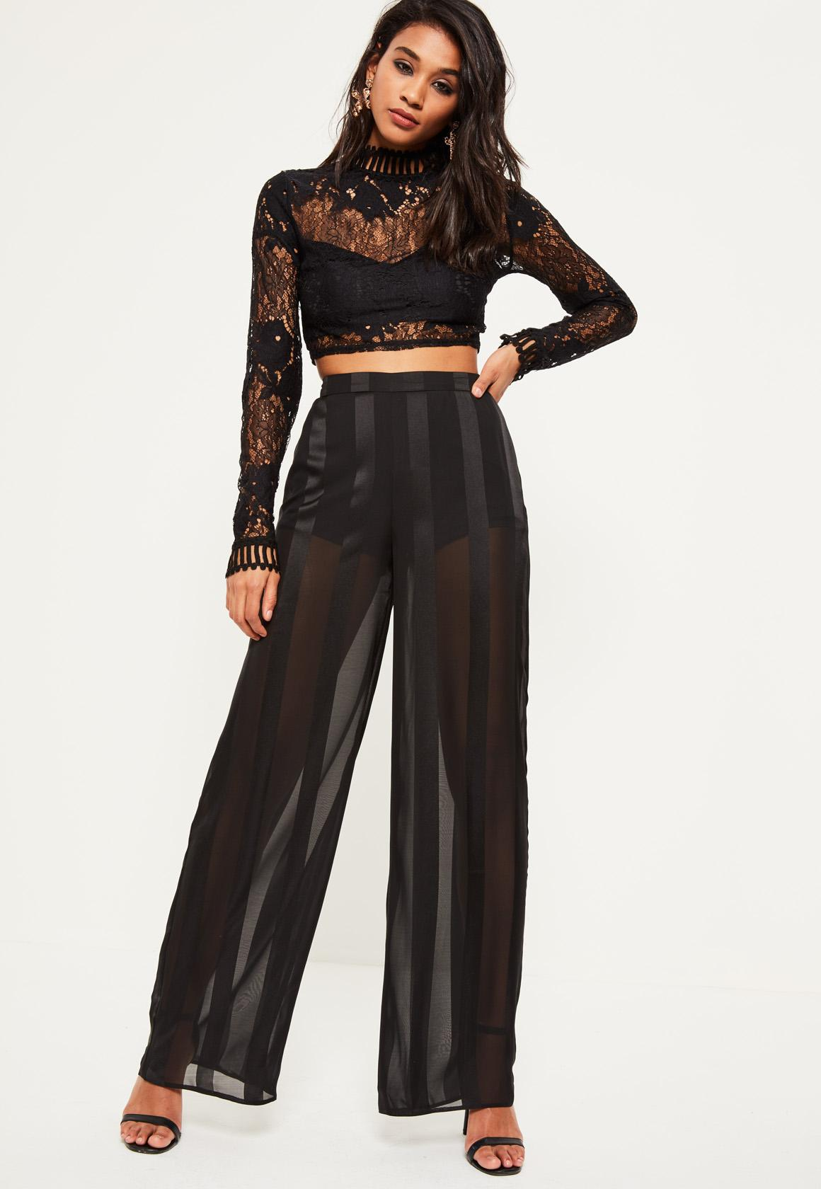 Black Sheer Stripe Wide Leg Pants | Missguided