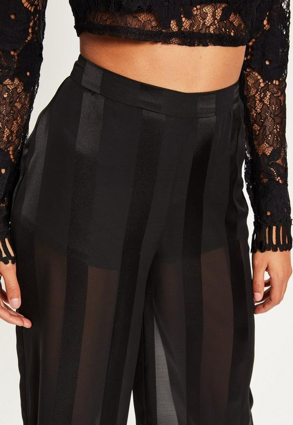 Black Sheer Stripe Wide Leg Pants Missguided