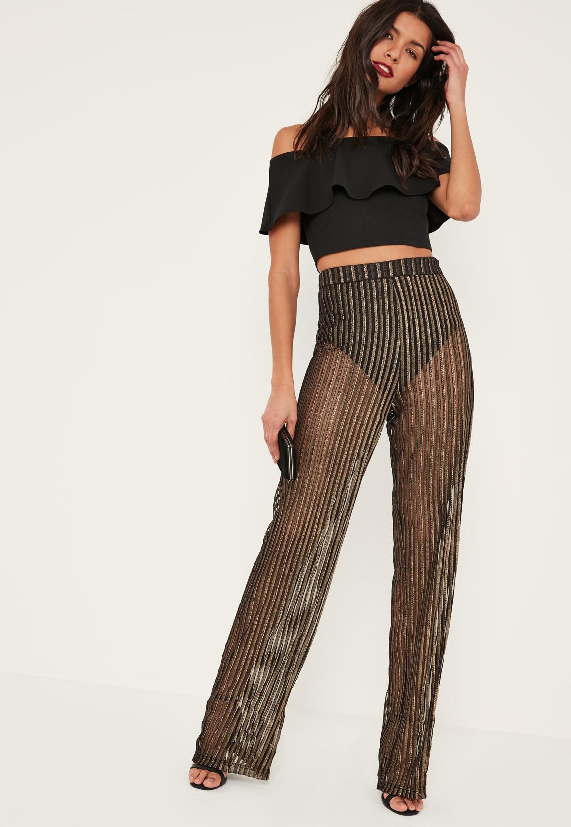 Gold Sheer Stripe Wide Leg Pants | Missguided