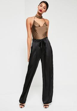 Black Paperbag Tie Waist Satin Wide Leg Trousers