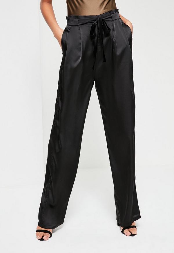 Black Paperbag Tie Waist Satin Wide Leg Pants Missguided