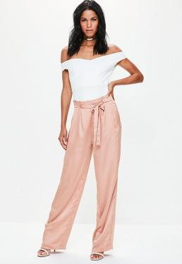 Pink Paperbag Tie Waist Satin Wide Leg Trousers