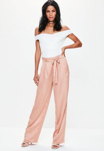 Pink Paperbag Tie Waist Satin Wide Leg Pants Missguided