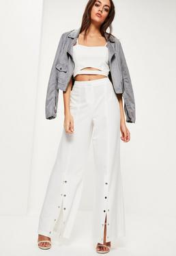 White Popper Front Wide Leg Trousers