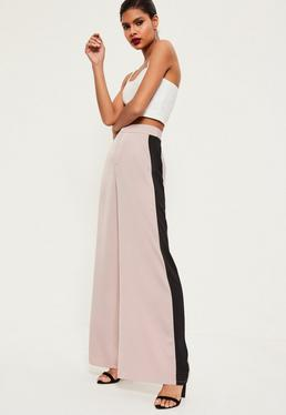 Pink Premium Satin Side Stripe Wide Leg Trousers
