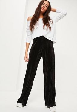 Black Crinkle Wide Leg Trousers