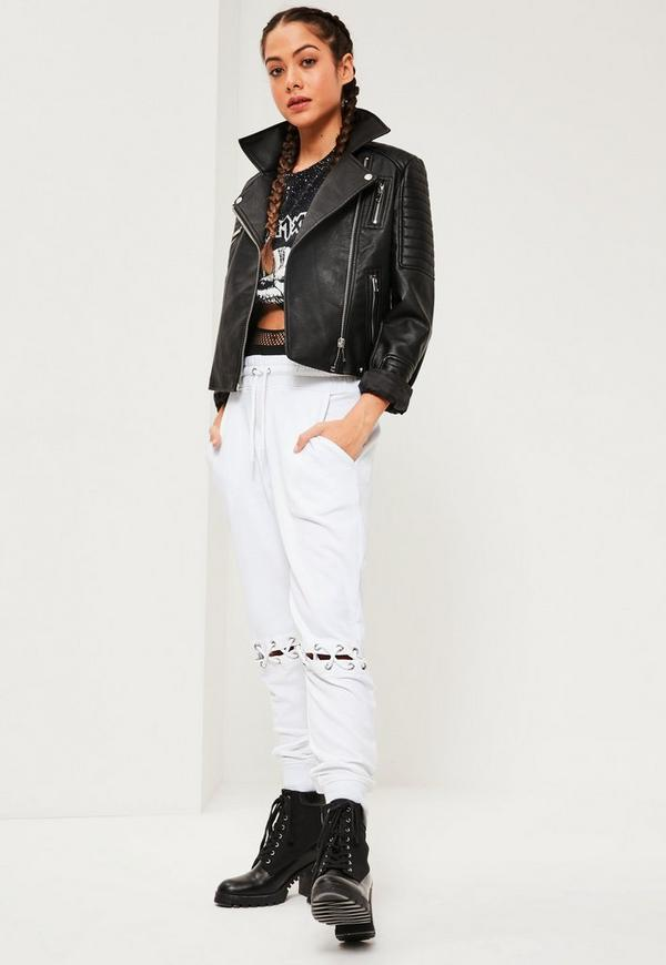 White Eyelet Lace Up Knee Detail Joggers