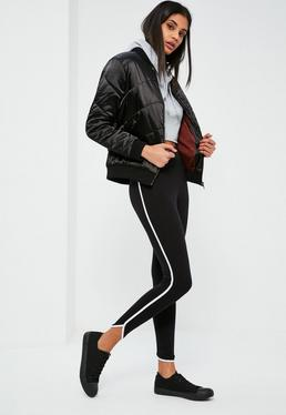 Black Side Stripe Curve Hem Detail Leggings