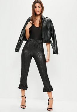Black Glitter Crinkle Frill Hem Trousers