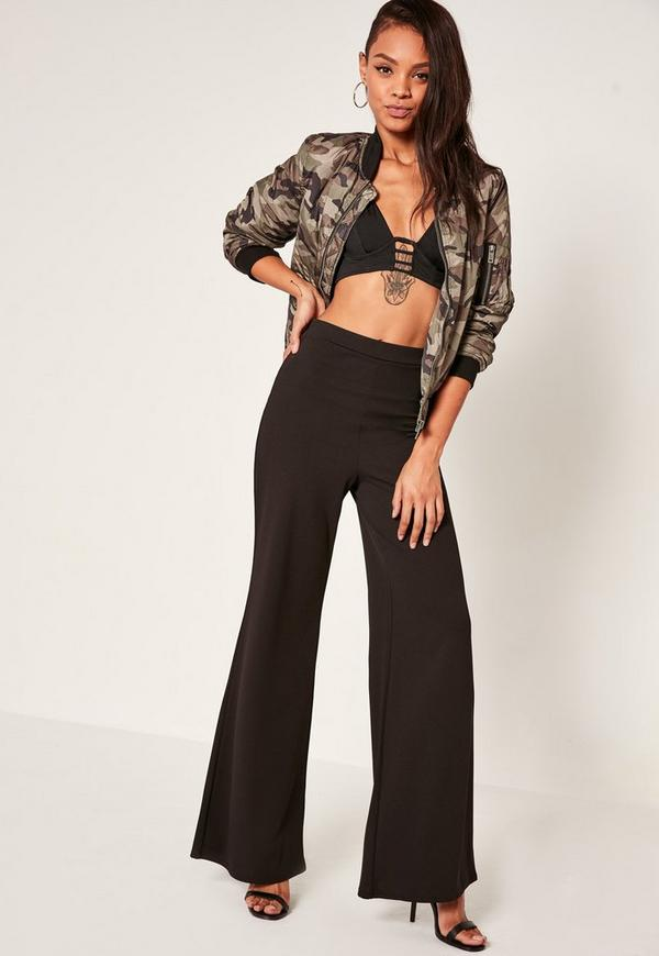 Wide Leg Crepe Trousers Black