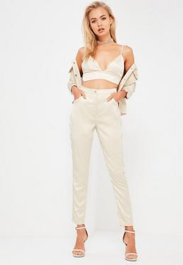 Pantalon skinny en satin nude Galore