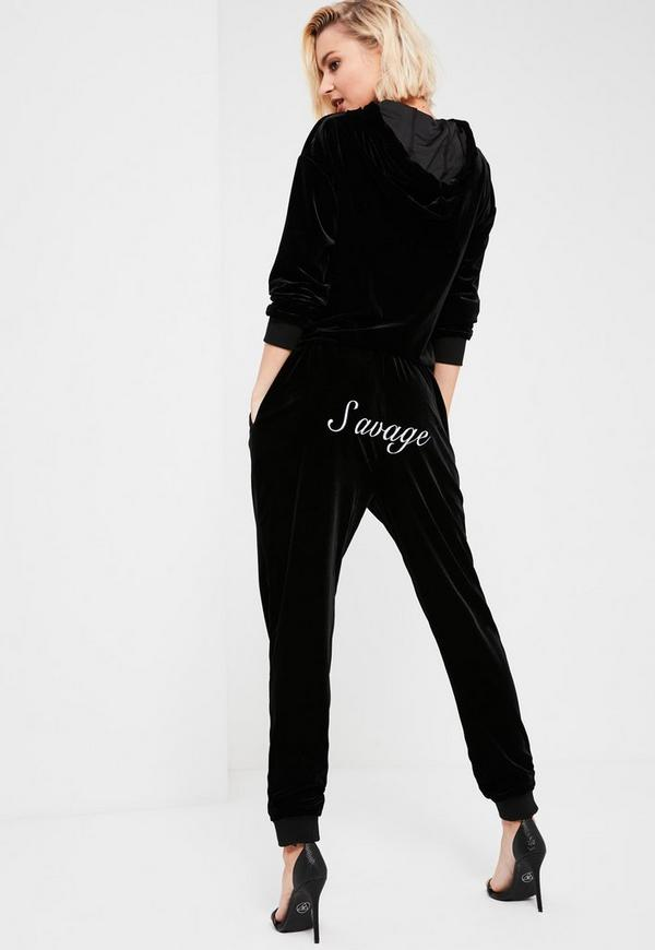 Galore Black Velour Printed Joggers