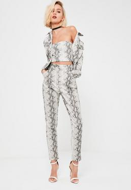 Galore Grey Snake Print Faux Leather Cigarette Trousers