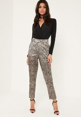 Gold Metallic Jacquard Cigarette Pants