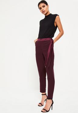 Purple Satin Trim Tie Waist Cigarette Trousers
