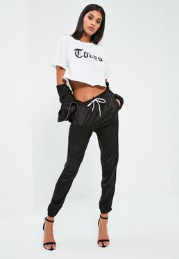 Czarne satynowe spodnie od dresu
