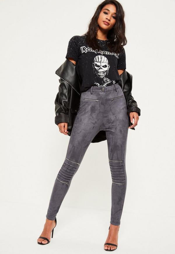 Grey Faux Suede Biker Knee Zip Detail Leggings