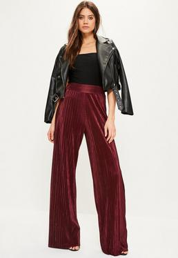 Burgundy Crinkle High Waisted Wide Leg Trousers