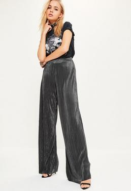 Grey Crinkle High Waisted Wide Leg Trousers