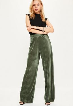 Pantalon large vert kaki plissé taille haute