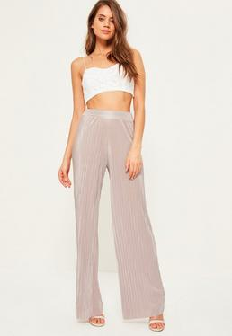 Lilac Crinkle Wide Leg Trousers