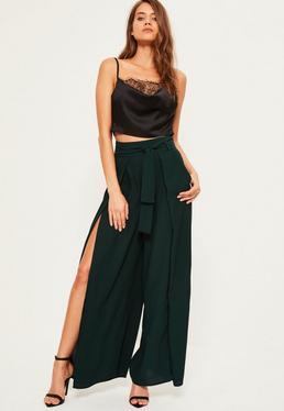Green Satin Split Front Wide Leg Trousers