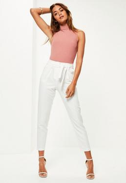 white pleated waist tie belt cigarette trousers