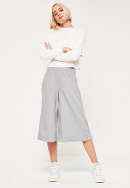 Jupe-culotte grise en crêpe soyeuse