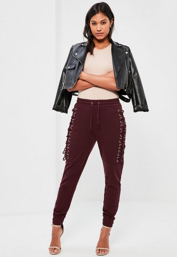 Burgundy Lace Up Eyelet Side Joggers