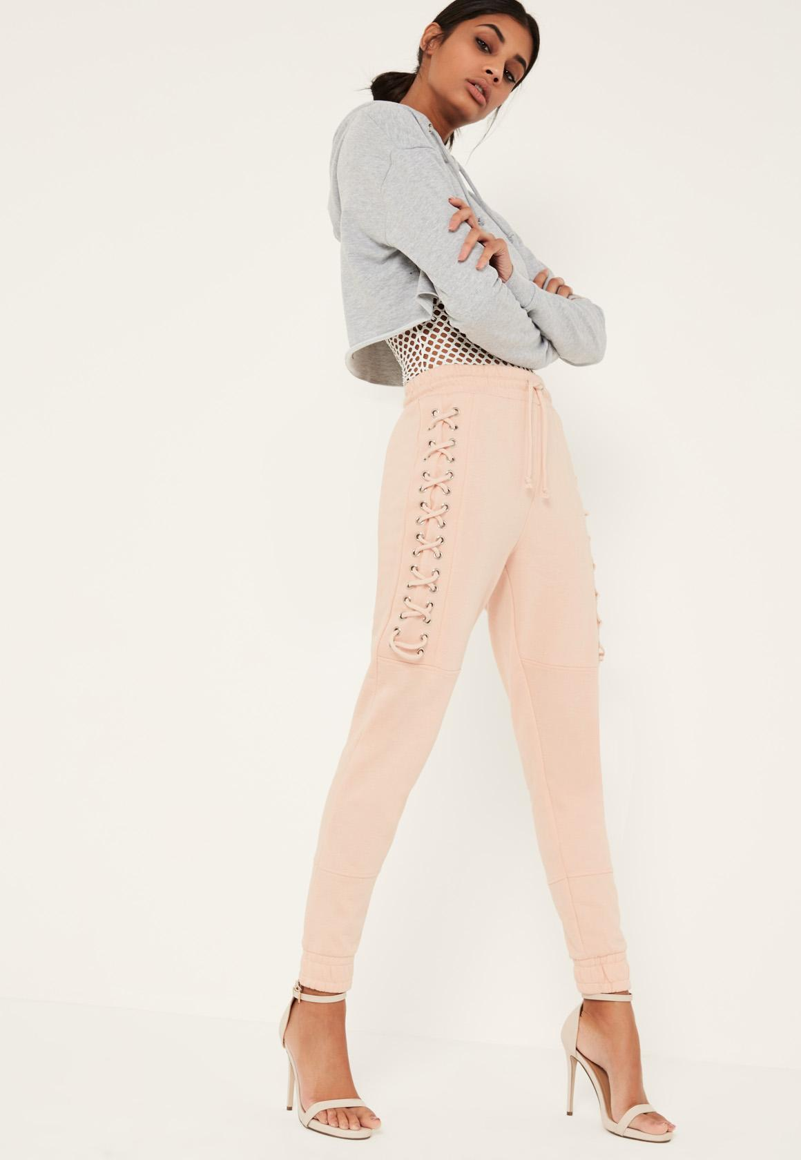 Nude Lace Up Eyelet Side Joggers