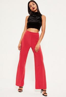 Red Wide Leg Slinky Pants