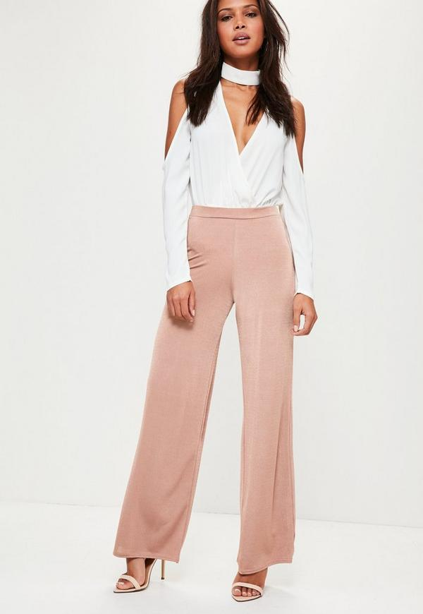 Pink Jersey Crepe Wide Leg Trousers