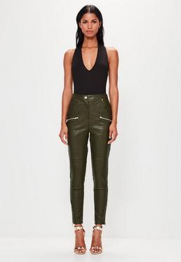 Pantalon en simili cuir vert kaki Peace + Love