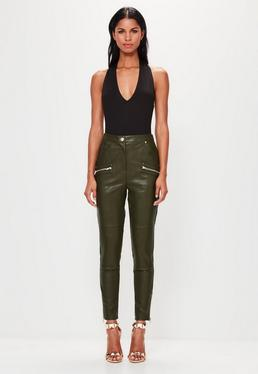 Peace + Love Khaki Faux Leather Pocket Detail Trousers