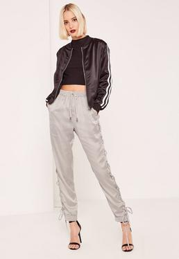Silver Satin Lace Up Side Joggers