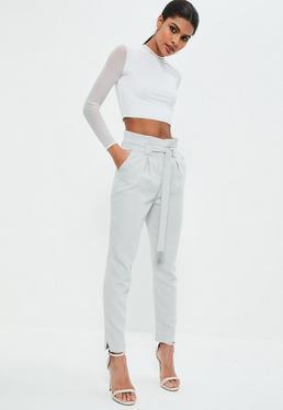 Pantalon cigarette gris à taille plissée