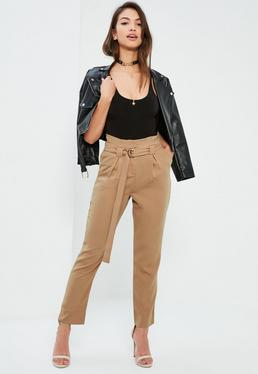 Nude Paperbag Waist Cigarette Trousers
