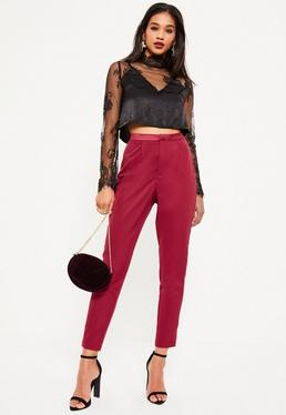 Burgundy Satin Side Stripe Tailored Crepe Cigarette Trousers