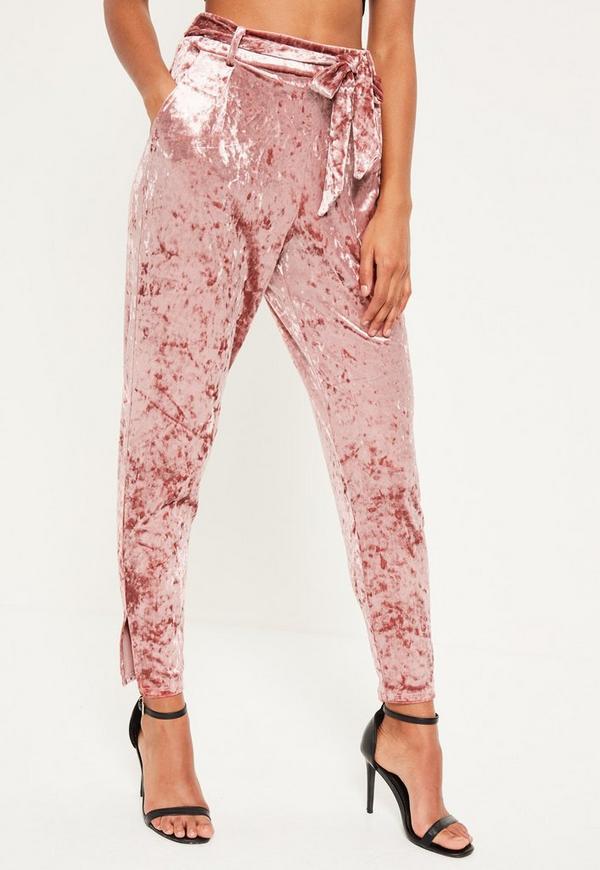 Pink Velvet Belted Cigarette Pants Missguided