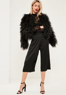 Black Satin Wrap Over Culottes