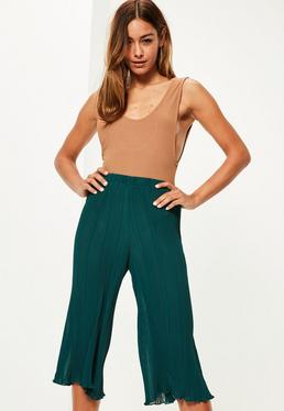 Teal Pleated Chiffon Culottes