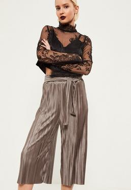 Brown Crinkle Tie Waist Culottes